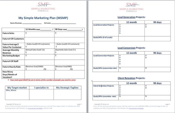 One Page Marketing PLan Template